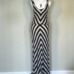 Pink Rose maxi dress is Navy blue and tan